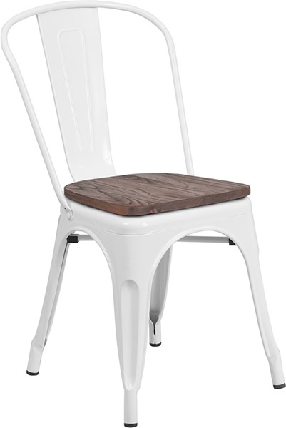 Flash Furniture White Metal Stack Chair FLF-CH-31230-WH-WD-GG