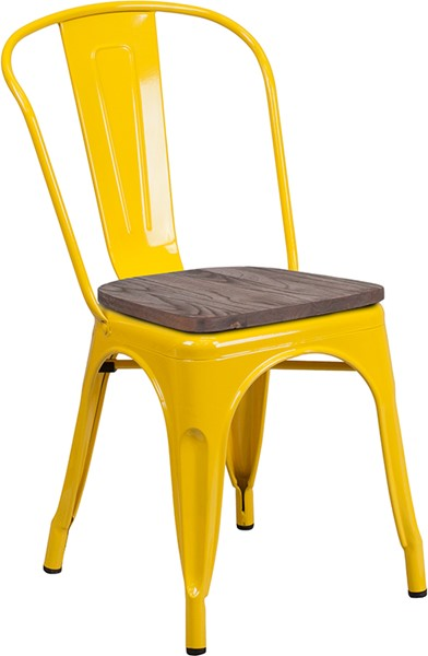 Flash Furniture Yellow Metal Stack Chair FLF-CH-31230-YL-WD-GG