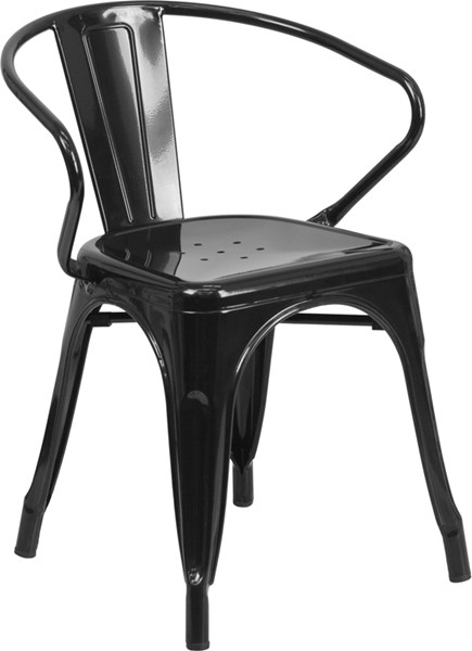 Black Metal Indoor-Outdoor Chair with Arms FLF-CH-31270-BK-GG