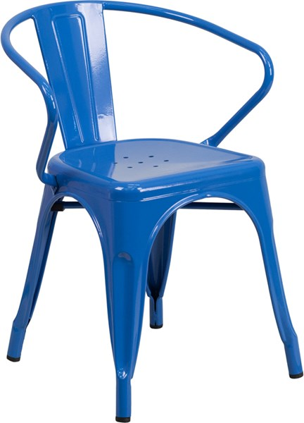 Flash Furniture Blue Indoor Outdoor Chair with Arms FLF-CH-31270-BL-GG