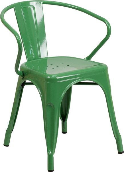 Green Metal Indoor-Outdoor Chair with Arms FLF-CH-31270-GN-GG