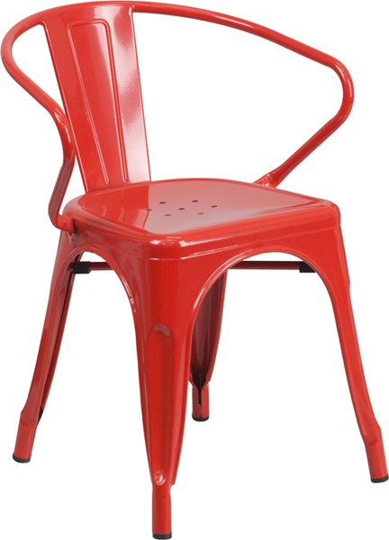 Flash Furniture Red Indoor Outdoor Chair with Arms FLF-CH-31270-RED-GG