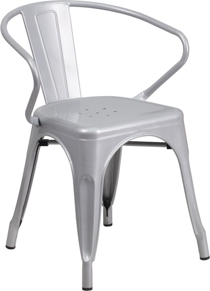 Silver Metal Indoor-Outdoor Chair with Arms FLF-CH-31270-SIL-GG