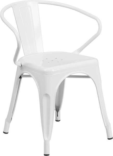 Flash Furniture White Indoor Outdoor Chair with Arms FLF-CH-31270-WH-GG