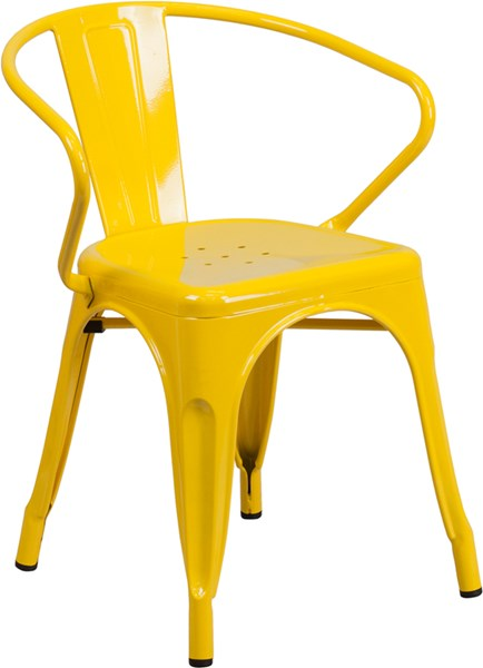 Flash Furniture Yellow Indoor Outdoor Chair with Arms FLF-CH-31270-YL-GG