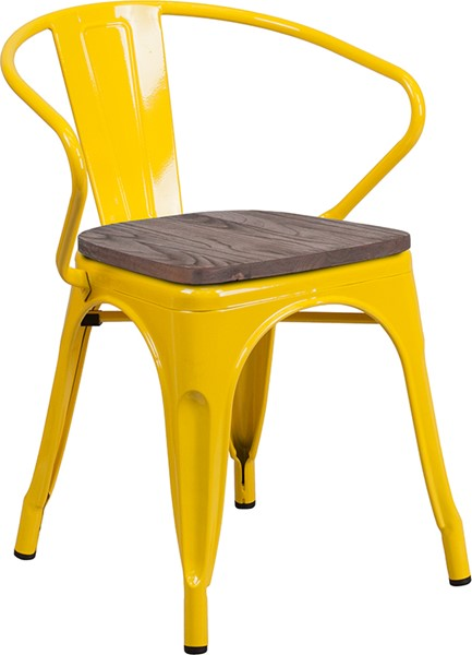 Flash Furniture Yellow Metal Arms Chair FLF-CH-31270-YL-WD-GG