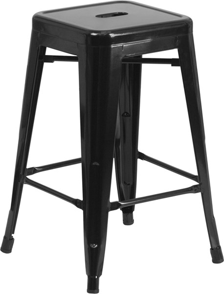 Flash Furniture Black 24 Inch Backless Indoor Outdoor Counter Height Stool FLF-CH-31320-24-BK-GG