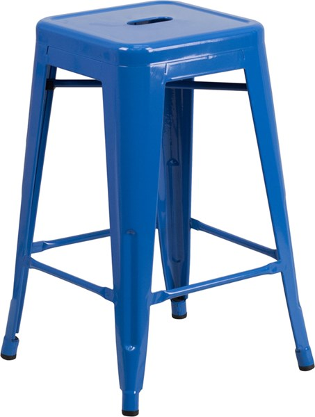 24 Inch High Backless Blue Metal Indoor-Outdoor Counter Height Stool FLF-CH-31320-24-BL-GG
