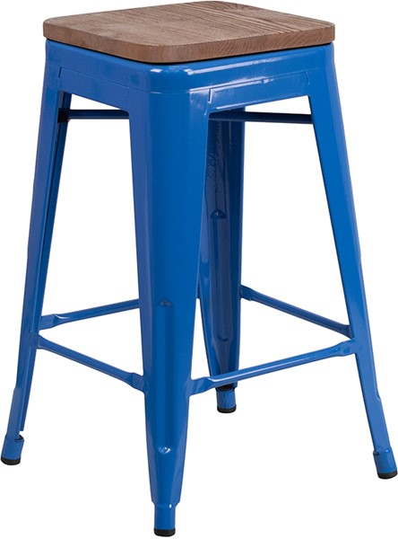 Flash Furniture Blue 24 Inch Backless Metal Stool FLF-CH-31320-24-BL-WD-GG