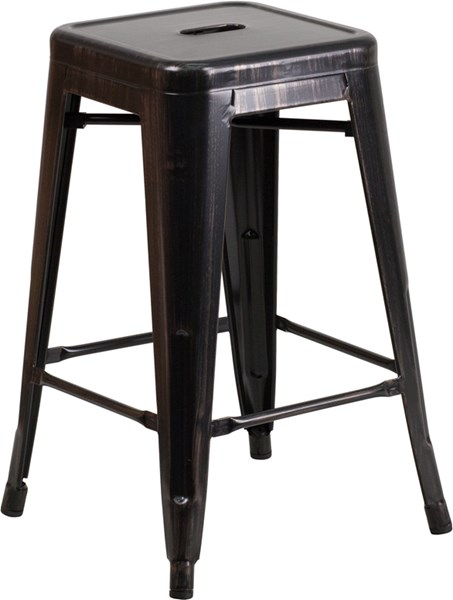 Black Antique Gold Metal Rubber Indoor Outdoor Counter Height Stool FLF-CH-31320-24-BQ-GG