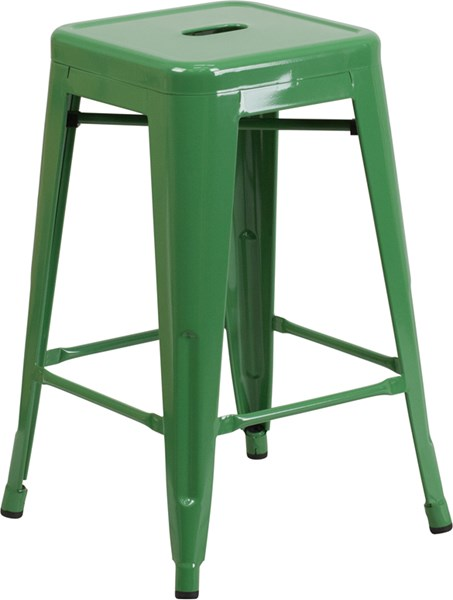 Flash Furniture Green 24 Inch Backless Indoor Outdoor Counter Height Stool FLF-CH-31320-24-GN-GG