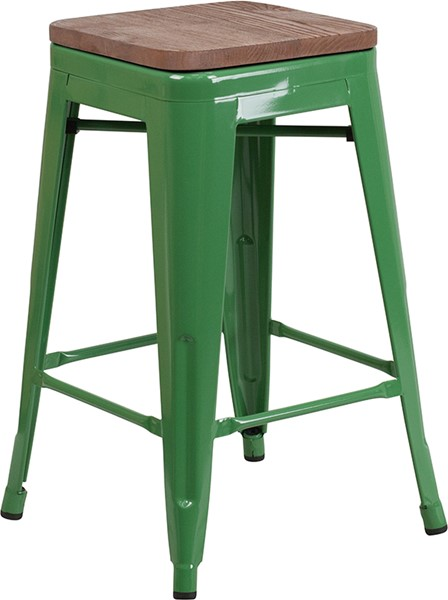 Flash Furniture Green 24 Inch Backless Metal Stool FLF-CH-31320-24-GN-WD-GG