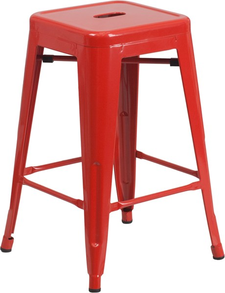 24 Inch High Backless Red Metal Indoor-Outdoor Counter Height Stool FLF-CH-31320-24-RED-GG