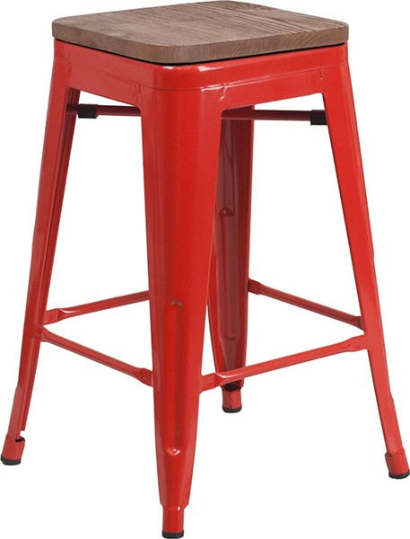 Flash Furniture Red 24 Inch Backless Metal Stool FLF-CH-31320-24-RED-WD-GG