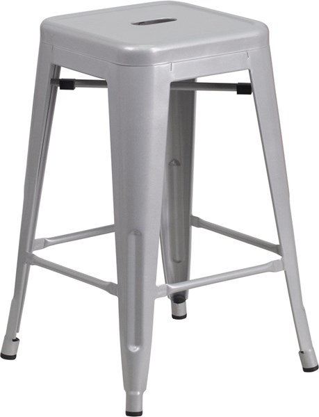 Silver Powder Coat Metal Plastic Indoor Outdoor Counter Height Stool FLF-CH-31320-24-SIL-GG