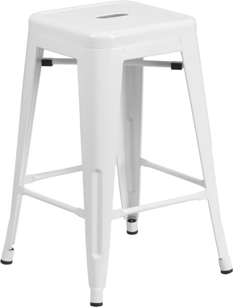 White Powder Coat Metal Rubber Indoor Outdoor Counter Height Stool FLF-CH-31320-24-WH-GG