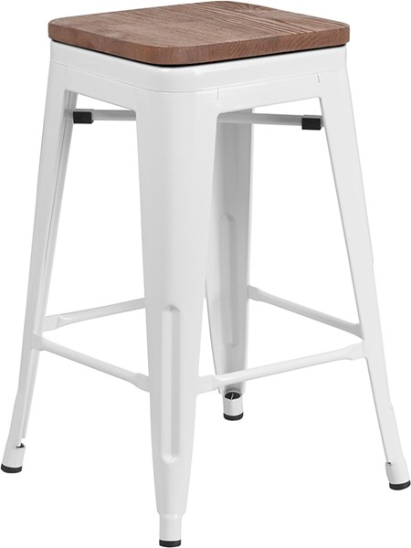 Flash Furniture White 24 Inch Backless Metal Stool FLF-CH-31320-24-WH-WD-GG