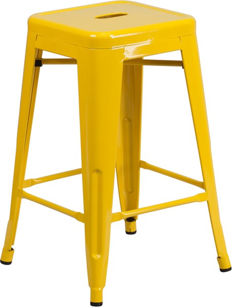 Yellow Metal Plastic Rubber Indoor Outdoor Counter Height Stool FLF-CH-31320-24-YL-GG