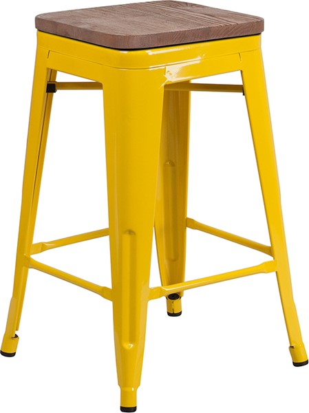 Flash Furniture Yellow 24 Inch Backless Metal Stool FLF-CH-31320-24-YL-WD-GG
