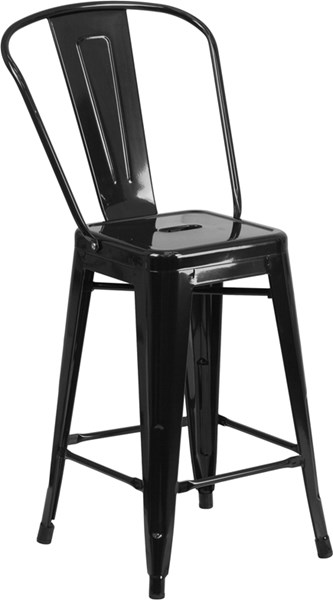 24 Inch High Black Metal Indoor-Outdoor Counter Height Stool FLF-CH-31320-24GB-BK-GG
