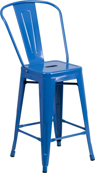 24 Inch High Blue Metal Indoor-Outdoor Counter Height Stool FLF-CH-31320-24GB-BL-GG
