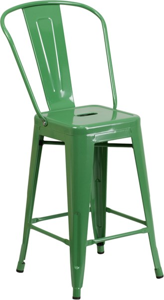 24 Inch High Green Metal Foot Rest Indoor Outdoor Counter Height Stool FLF-CH-31320-24GB-GN-GG