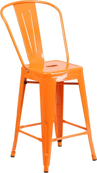 24 Inch High Orange Metal Indoor-Outdoor Counter Height Stool FLF-CH-31320-24GB-OR-GG