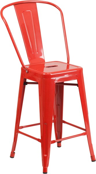 Flash Furniture 24 Inch High Red Powder Coat Metal Indoor Outdoor Counter Height Stool FLF-CH-31320-24GB-RED-GG