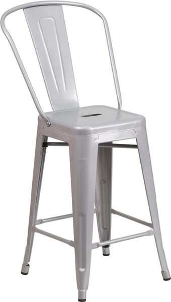 Flash Furniture 24 Inch High Silver Coat Metal Indoor Outdoor Counter Height Stool FLF-CH-31320-24GB-SIL-GG