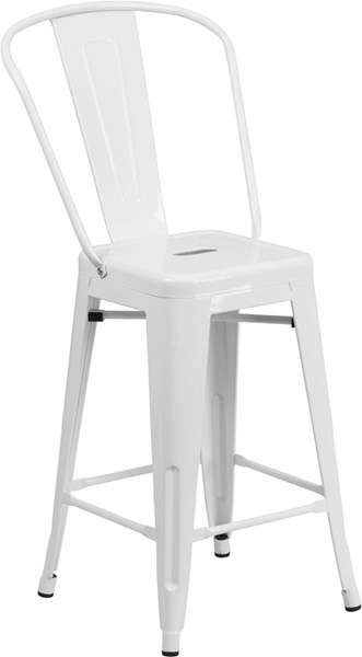 Flash Furniture 24 Inch High White Metal Indoor Outdoor Counter Height Stool FLF-CH-31320-24GB-WH-GG