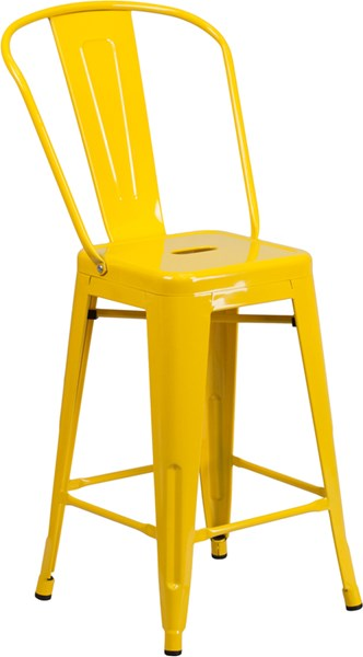 24 Inch High Yellow Metal Indoor Outdoor Counter Height Bar Stool FLF-CH-31320-24GB-YL-GG