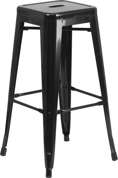 Flash Furniture 30 Inch Backless Black Indoor Outdoor Square Barstool FLF-CH-31320-30-BK-GG