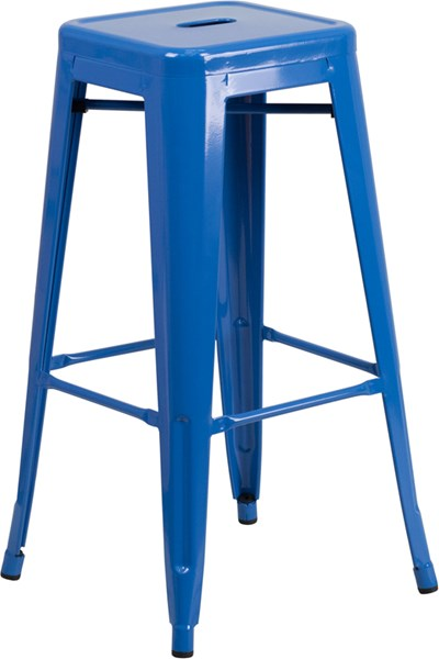 Flash Furniture 30 Inch Backless Blue Indoor Outdoor Square Barstool FLF-CH-31320-30-BL-GG