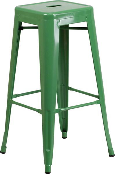 30 Inch High Backless Metal Indoor-Outdoor Barstool w/Square Seat FLF-CH-31320-30-GG-BS-VAR