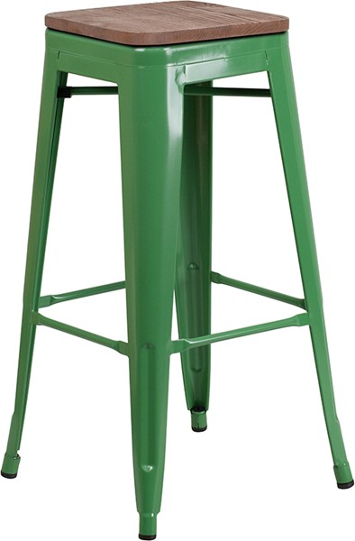 Flash Furniture Green 30 Inch Backless Metal Stool FLF-CH-31320-30-GN-WD-GG
