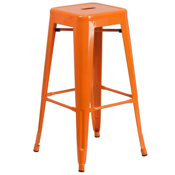 Flash Furniture 30 Inch Backless Orange Indoor Outdoor Square Barstool FLF-CH-31320-30-OR-GG