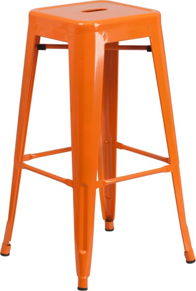 30 Inch High Backless Orange Metal Indoor-Outdoor Square Barstool FLF-CH-31320-30-OR-GG