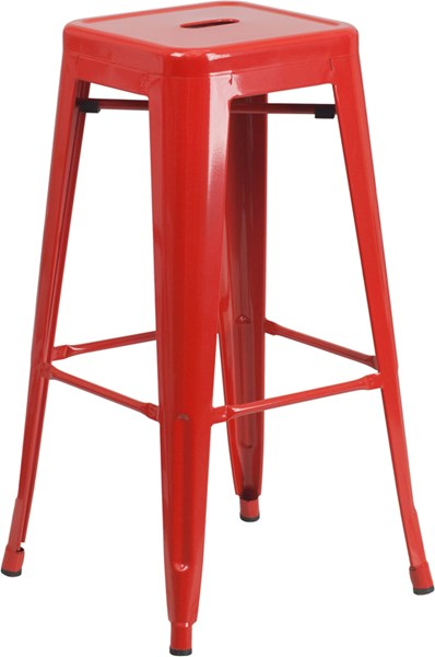 Flash Furniture 30 Inch Backless Red Indoor Outdoor Square Barstool FLF-CH-31320-30-RED-GG