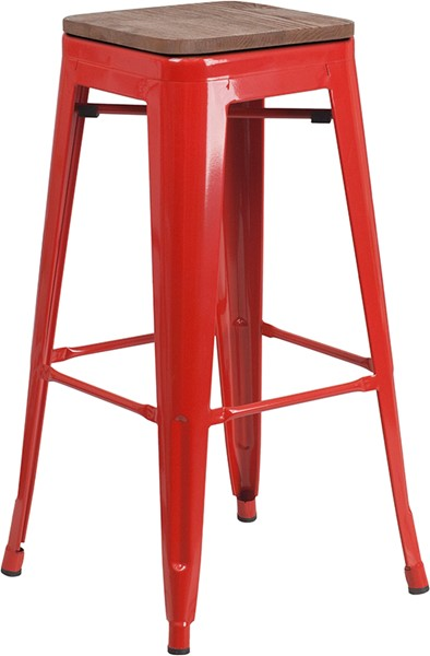 Flash Furniture Red 30 Inch Backless Metal Stool FLF-CH-31320-30-RED-WD-GG
