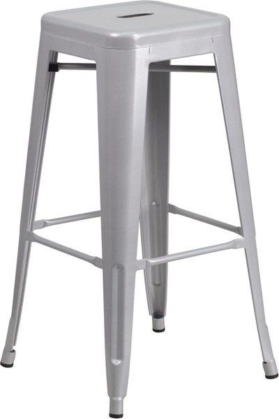 30 Inch High Backless Silver Metal Indoor-Outdoor Square Barstool FLF-CH-31320-30-SIL-GG