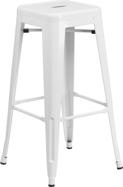 30 Inch High Backless White Metal Indoor-Outdoor Square Barstool FLF-CH-31320-30-WH-GG