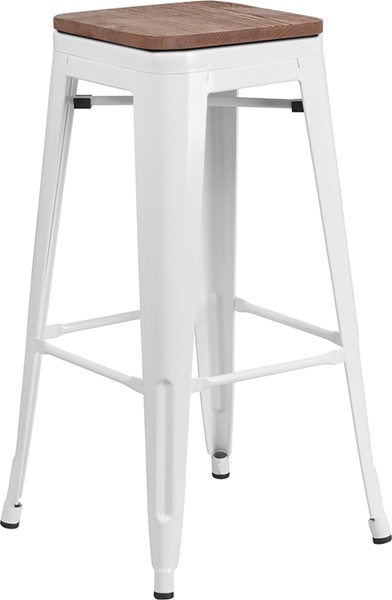 Flash Furniture White 30 Inch Backless Metal Stool FLF-CH-31320-30-WH-WD-GG