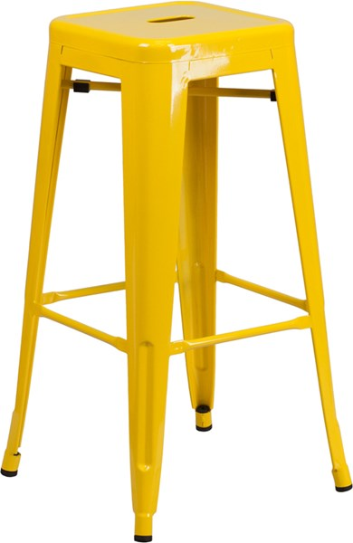 30 Inch High Backless Yellow Metal Indoor-Outdoor Square Barstool FLF-CH-31320-30-YL-GG