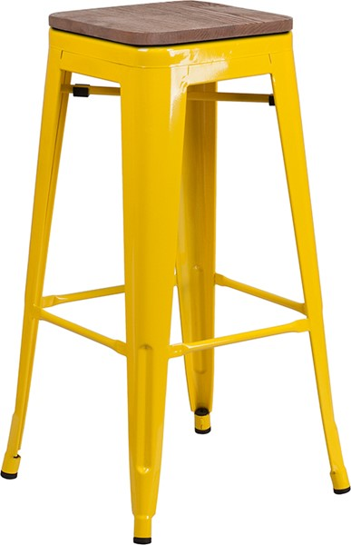 Flash Furniture Yellow 30 Inch Backless Metal Stool FLF-CH-31320-30-YL-WD-GG