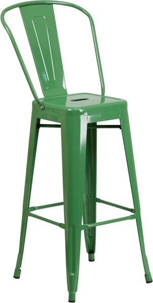 30 Inch High Green Metal Indoor-Outdoor Barstool FLF-CH-31320-30GB-GN-GG