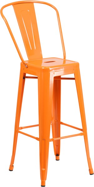 30 Inch High Orange Metal Plastic Rubber Indoor Outdoor Barstool FLF-CH-31320-30GB-OR-GG