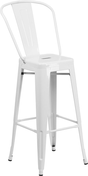 30 Inch High White Metal Indoor-Outdoor Barstool FLF-CH-31320-30GB-WH-GG