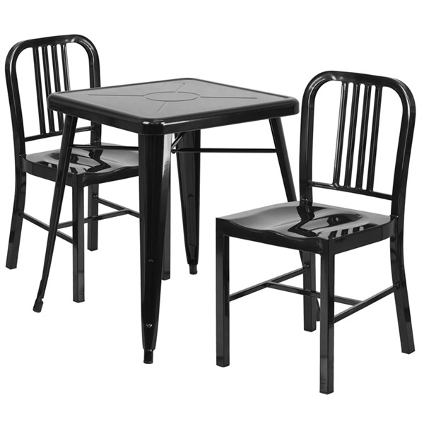 Metal Rubber Armless & Solid Back Dining Room Set FLF-CH-31330-2-GG-DR