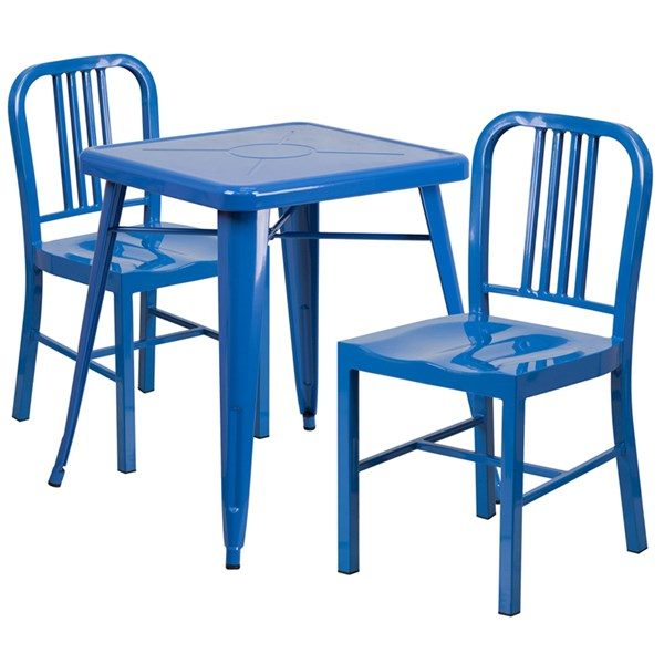 Blue Metal Indoor-Outdoor Table Set w/2 Vertical Slat Back Chairs FLF-CH-31330-31200-18-GG-DR-S6
