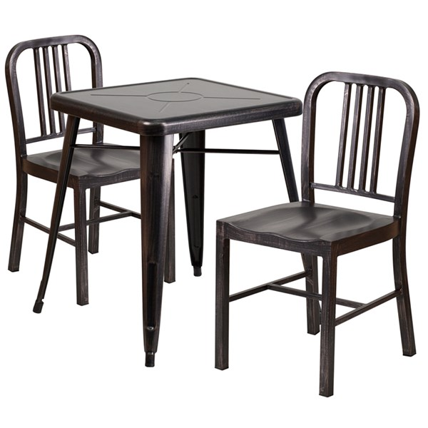 Black-Antique Gold Metal Indoor-Outdoor Table Set w/2 Slat Chairs FLF-CH-31330-31200-18-GG-DR-S9